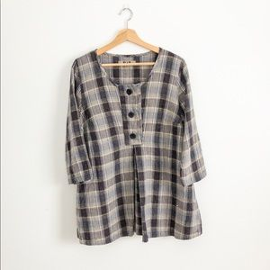 FLAX Plaid Linen Tunic Top Button 3/4 Sleeve S